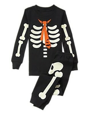 NWT Gymboree Skeleton Costume Glow-in-the-Dark Gymmies Sleep Set Pajamas 10 12](Skeleton Pajamas)