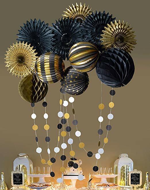 Black Gold  Fan Lantern Honeycomb Ball wedding graduation re