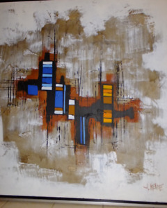 MID CENTURY ABSTRACT THEODORE J. KEANE LARGE 36 X36