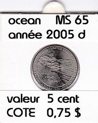 e 2)pieces de 5 cent jefferson  2005  D  ocean   voir description