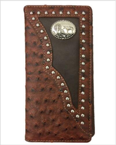Cross Praying Cowboy Men Wallet Western Bifold W011-33 Ostrich Brown