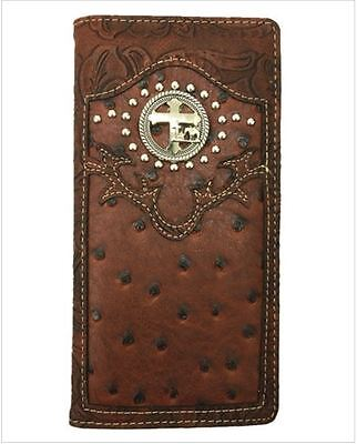 Men Wallet Western Bifold Check Book W069-30 Cross Praying Cowboy Brown