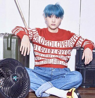 Red LOVED BTS Suga Yoongi DNA Sweater Jumper Winter 8-12