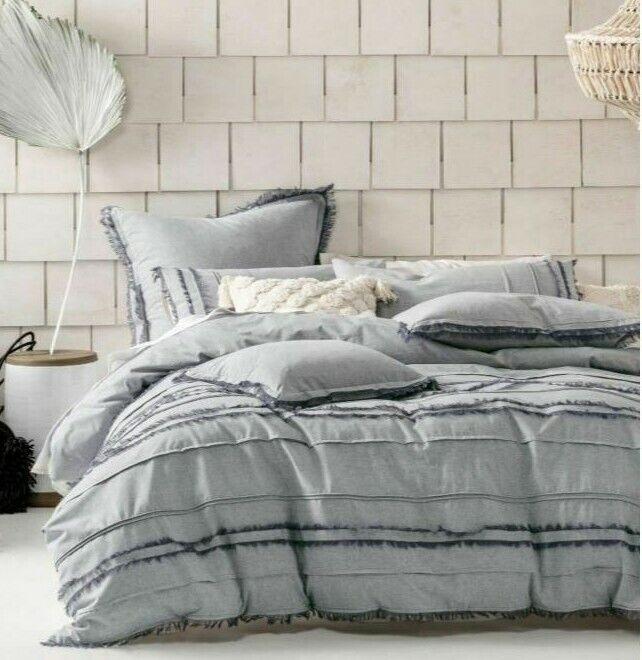 King Linen House Haze White Cotton Quilt Cover SetQueen Super King