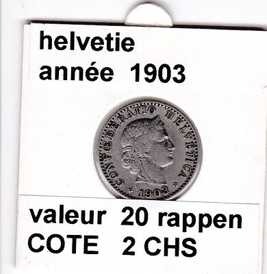 S 2) pieces suisse de 20  rappen de 1903  voir description