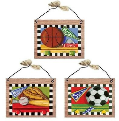 Kids Sport Ball Pictures Baseball Basketball Soccer Wall Hangings Decor - Hanging Soccer Ball