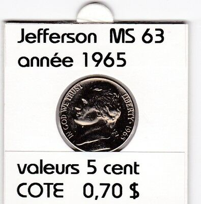 e3 )pieces de 5 cent  1965      jefferson