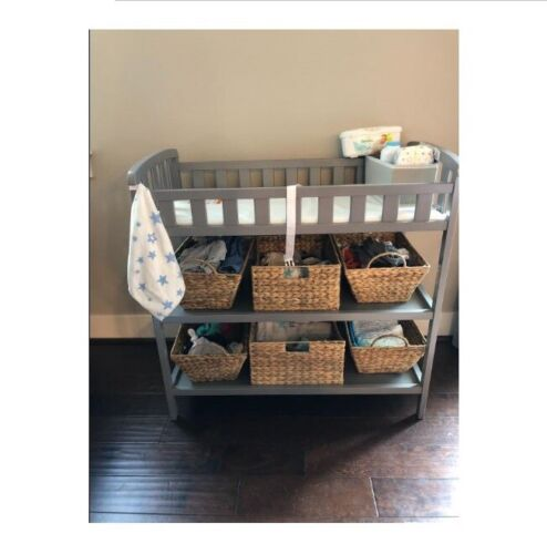 Infant Changing Table Home Daycare Baby Nursery Station Diaper Storage Shelves