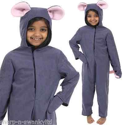 Uk-Herstellung Jungen Mädchen Grau Maus Tier Büchertag Kostüm Kleid Outfit 4-10 ()