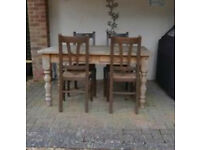 Pine Table & Wooden Chairs - Good for restoration project