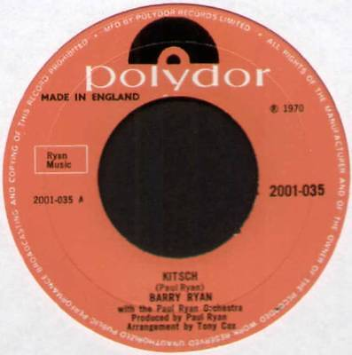 "[PAUL RYAN] BARRY RYAN ~ KITSCH / GIVE ME A SIGN ~ 1970 UK 7"" SINGLE [Ref.1]"