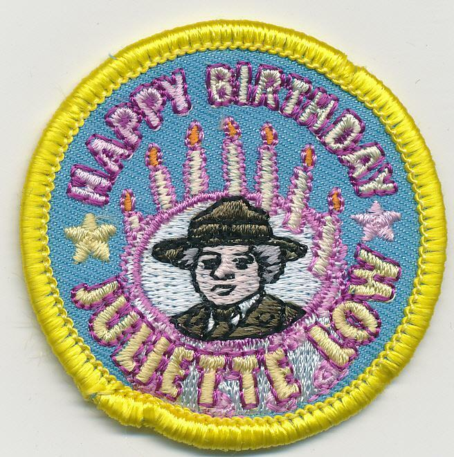 Girl HAPPY BIRTHDAY JULIETTE LOW Yellow Fun Patches Crest Badge SCOUTS GUIDE