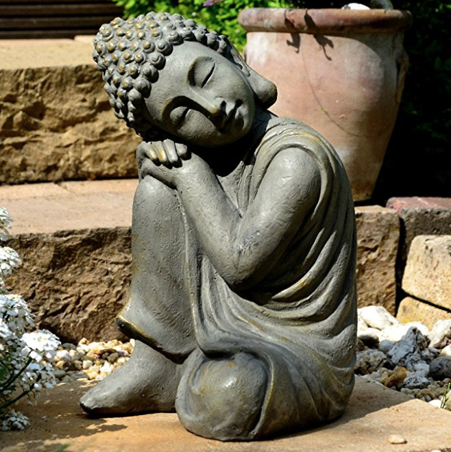 AVOXY Garten Buddha tolle Messingoptik Stein Statue Top Design Frostsicher Luxus