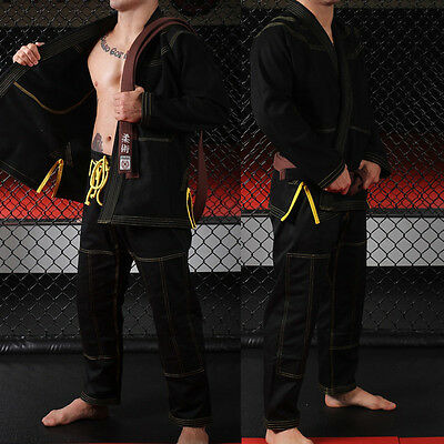 New A4 BJJ Jiu Jitsu Gi IBJJF Approved. Blank No Logos Black and Yellow