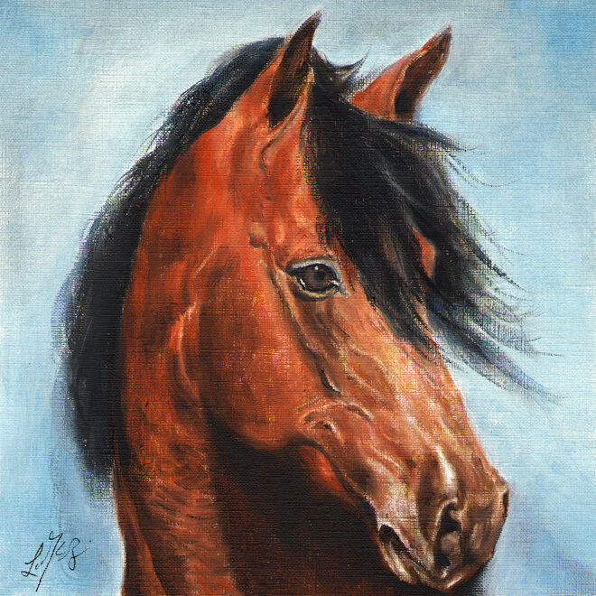 Original Oil HORSE Portrait Painting PONY Art Artwork on Canvas Brown