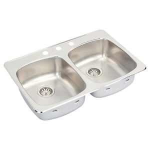 """DOUBLE SINK - STAINLESS STEEL - 3 Holes -Top Mount - (31"""" x 20"""")"""