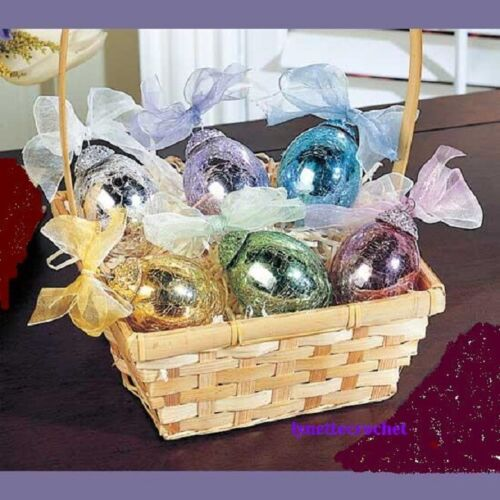 """6 PC EASTER EGG ORNAMENTS CRACKLE GLASS YELLOW BLUE PINK PURPLE SILVER GOLD 3"""" L"""