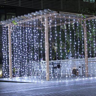9.8ftx9.8ft 304 LED Christmas xmas String Fairy Wedding Curtain Light Pure White