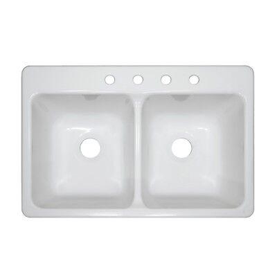 "Mobile Home Parts 33"" x 19"" x 9"" Deep Double Bowl White Acrylic Kitchen Sink"