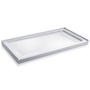 Base de douche rectangulaire, blanche, réversible (60x32)po
