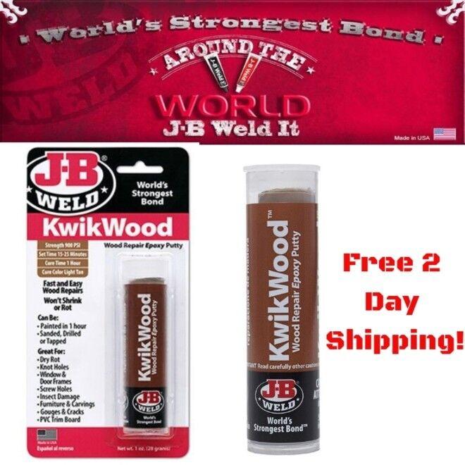 J B Weld 8257 Epoxy Putty, Kwikwood, Sets In 15 To 25 Minute