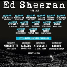 2 x Ed Sheeran standing tickets, Hampden Park, Glasgow, Friday 1st June