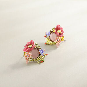LES NEREIDES Pink flower, little flowers and faceted glass earrings