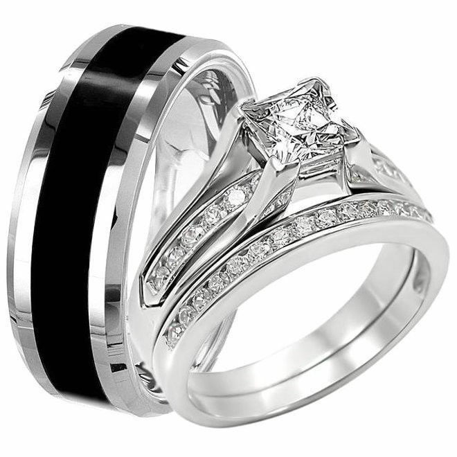 how to buy affordable wedding ring sets - Black And White Wedding Rings