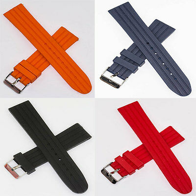Red Rubber Strap (Soft silicone rubber watch strap divers sports orange red blue black 20mm 22mm)