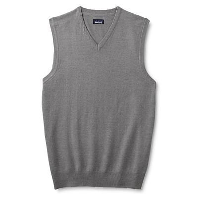 Mens Classic V-neck Sweater - Men's Big & Tall V Neck Classic Sweater Vest Ribbed Trim - Light Grey