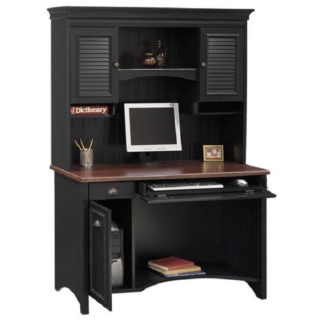 Black/Cherry Computer Desk Hutch Home Office Furniture Student Workstation Study