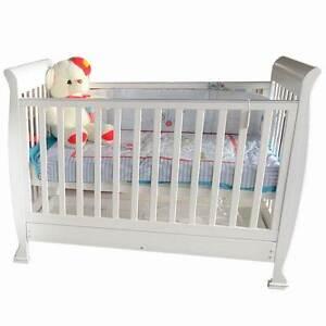 NEW WHITE SLEIGH BABY COT CRIB PACKAGE  MATTRESS Mandurah Mandurah Area Preview