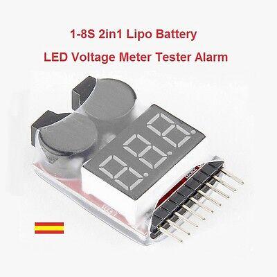 Probador Tester de Baterias Lipo 1-8S 2 en 1 medidor con Alarma 3.7v-30V segunda mano  Embacar hacia Mexico