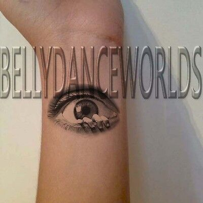 CREEPY EYES FINGER COMING OUT OF EYE TEMPORARY TATTOO HALLOWEEN MAKEUP STICKER