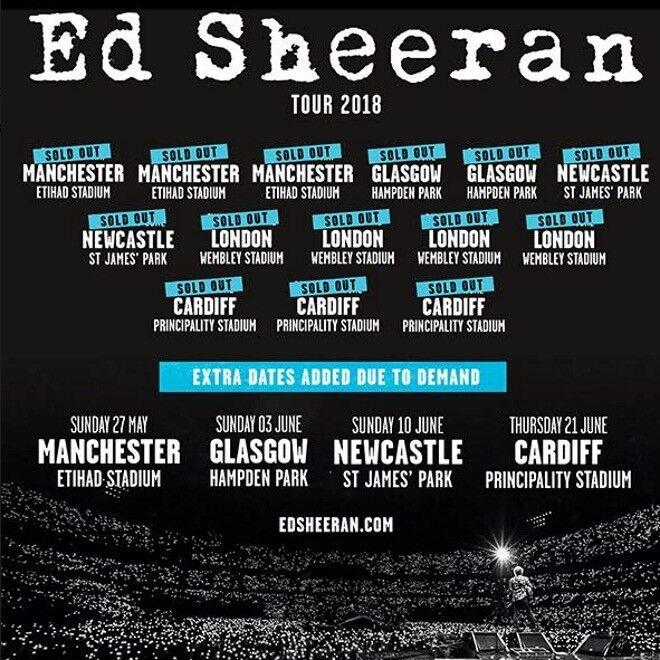 2 x FACE VALUE Ed Sheeran standing tickets, Friday 25th May, Etihad Stadium, Manchester