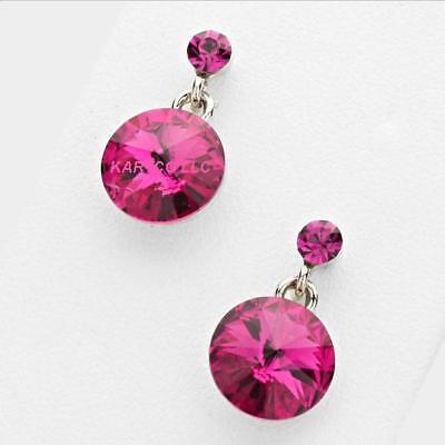 GENIUNE AUSTRIAN CRYSTAL 10MM FUCHSIA DROP EARRINGS: SIZE SMALL (Fuchsia Pink Austrian Crystal)