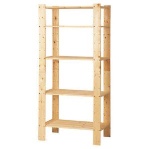 Sturdy 5-Shelf Pine Storage Unit