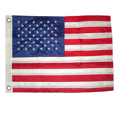 """12x18"""" American US Flag Embroidered Nylon MOTORCYCLE BOAT USA Sewn Grommet"""