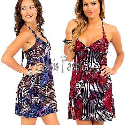 WOMENS Sun Dress slip dress built in bra beaded halter animal Sexy S M L XL  Halter Slip Dress