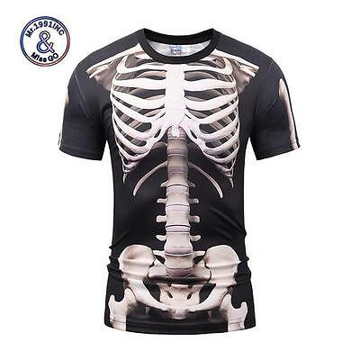 Fashion Men's 3D Print Human Skeleton Summer Short Sleeve Casual Tee -