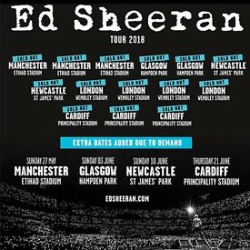 4 x Ed Sheeran standing tickets, Hampden Park Glasgow, Saturday 2nd June 2018