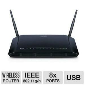 D-Link DIR-632 Wireless 8-Port Router - N300, Fast Ethernet, USB