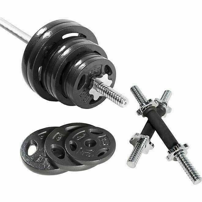 Home Muscle Barbell Weight Set with Dumbbell Handles Standard Size Plates 110LB