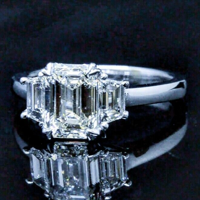 4.60 ct. Three Stone Emerald Cut Diamond GIA Certfied J, VVS2 14k White Gold 3