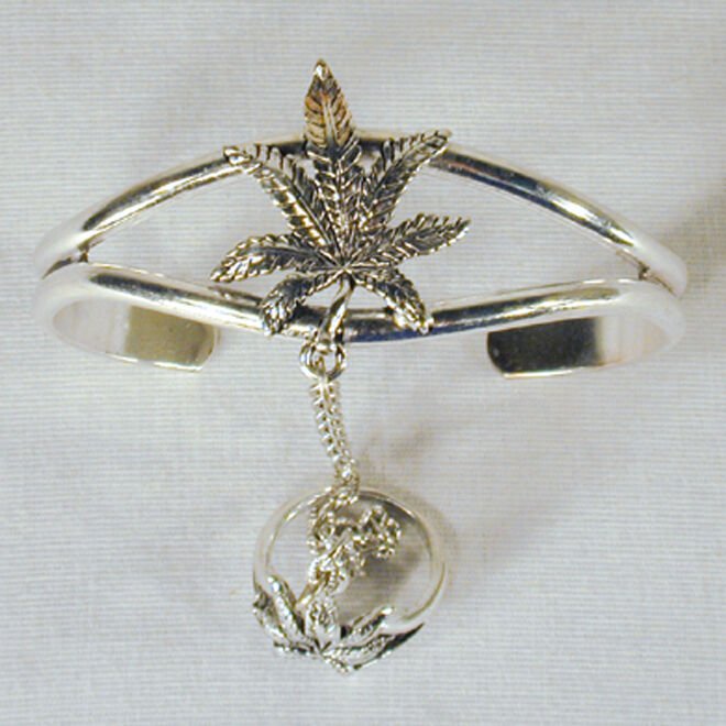 SILVER POT LEAF SLAVE BRACELET #30 marijuana new RING women girls jewelry set