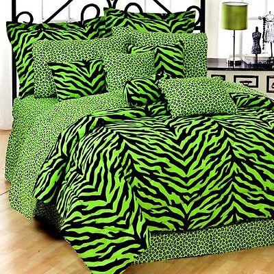 Zebra Lime Window (Lime Green Zebra Leopard - SAFARI - 6 Pc TWIN Comforter Set & 2 Window Valances )