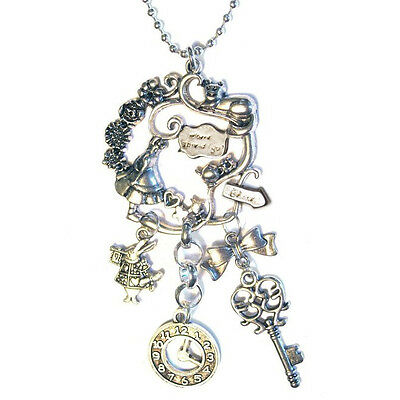 Alice in Wonderland Cheshire Cat w/ White Rabbit and watch Charm Necklace silver