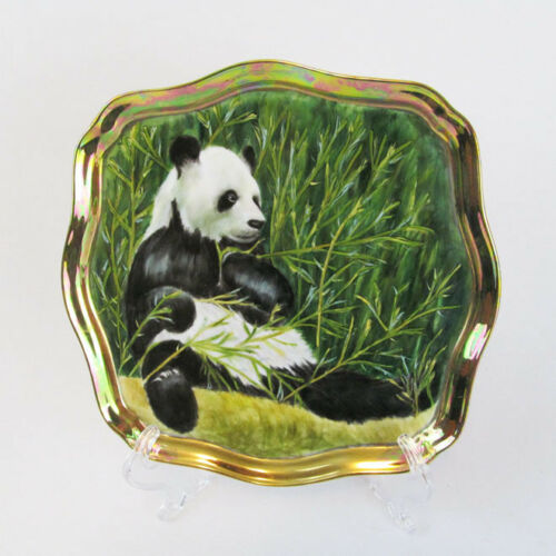 Hand Painted Ellen Wilson-Pruitt After Robert Bateman Porcelain Panda Bear Tray