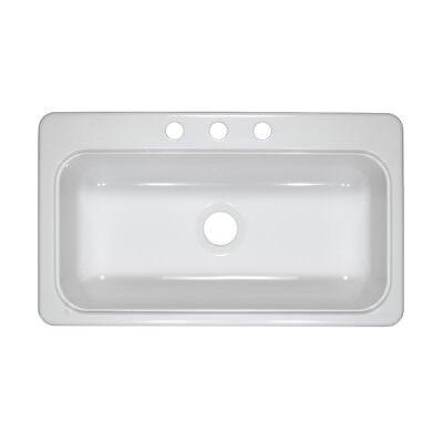 """Mobile Home 33"""" x 19"""" x 8"""" Single Bowl White Acrylic Kitchen Sink"""
