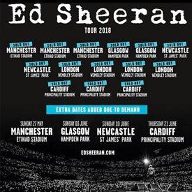 2 x Ed Sheeran standing tickets, Etihad Stadium, Manchester, Friday 25th May